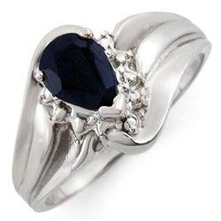 Genuine 0.62ctw Black Sapphire & Diamond Ring 10K Gold