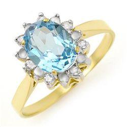 Genuine 1.69 ctw Blue Topaz & Diamond Ring 10K Gold