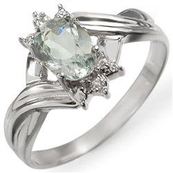Genuine 0.79 ctw Aquamarine & Diamond Ring 10K Gold