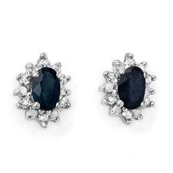 Genuine 0.86 ctw Sapphire & Diamond Earrings 10K Gold