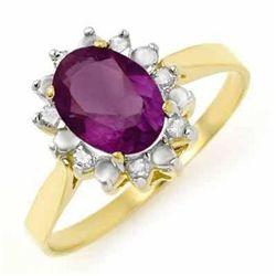 Genuine 1.26 ctw Amethyst & Diamond Ring 10K White Gold