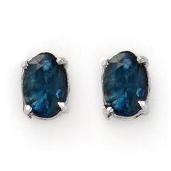 Genuine 3.0 ctw Blue Sapphire Stud Earrings 14K Gold