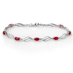Genuine 3.02 ctw Ruby & Diamond Bracelet White Gold