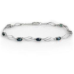 Genuine 3.02 ctw Sapphire & Diamond Bracelet 10K Gold