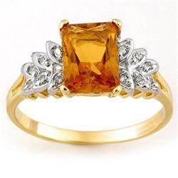 Genuine 2.12 ctw Citrine & Diamond Ring 10K Yellow Gold