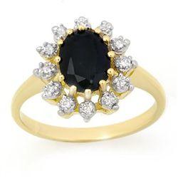 Genuine 2.04 ctw Sapphire & Diamond Ring 10K Yellow Gold