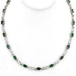 Genuine 7.02 ctw Emerald & Diamond Necklace White Gold
