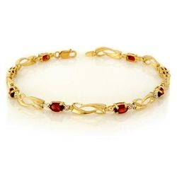 Genuine 2.02 ctw Garnet & Diamond Bracelet Yellow Gold