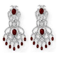 Genuine 17.5 ctw Ruby & Diamond Earrings White Gold