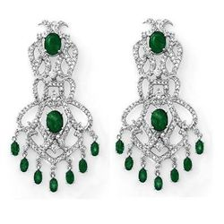Genuine 17.3 ctw Emerald & Diamond Earrings White Gold