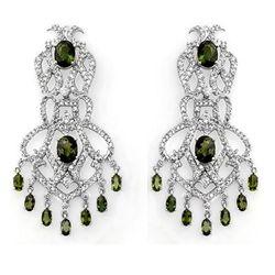 Genuine 17.3ct Green Tourmaline & Diamond Earrings Gold