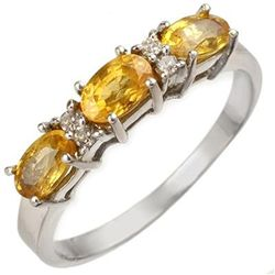 Genuine 1.33 ctw Yellow Sapphire & Diamond Ring Gold