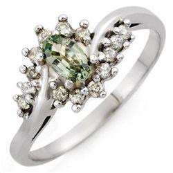 Genuine 0.55 ctw Green Sapphire & Diamond Ring 10K White Gold