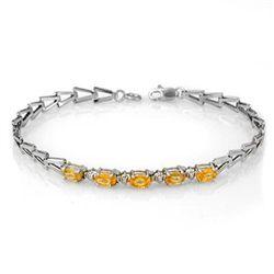 Genuine 2.0 ctw Yellow Sapphire Bracelet 10K White Gold