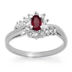 Genuine 0.45 ctw Ruby & Diamond Ring 10K White Gold