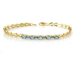 Genuine 1.0 ctw Blue Topaz Bracelet 10K Yellow Gold