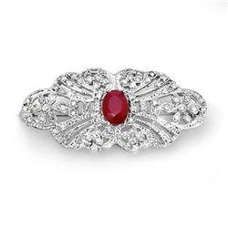 Genuine 3.75 ctw Ruby & Diamond Brooch 14K White Gold