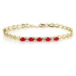 Genuine 1.55 ctw Ruby Bracelet 10K Yellow Gold