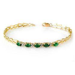 Genuine 1.10 ctw Emerald Bracelet 10K Yellow Gold