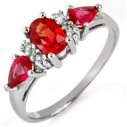 Genuine 1.33 ctw Red Sapphire & Diamond Ring 10K White Gold