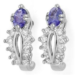 Genuine 0.80 ctw Tanzanite & Diamond Earrings 10K Gold