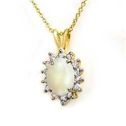 Genuine 1.0 ctw Opal & Diamond Pendant Yellow Gold