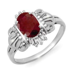 Genuine 1.06 ctw Ruby & Diamond Ring 10K White Gold