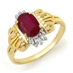 Genuine 1.06 ctw Ruby & Diamond Ring 10K Yellow Gold