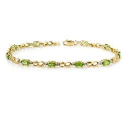 Genuine 2.26 ctw Peridot & Diamond Bracelet Yellow Gold