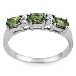 Genuine 1.33 ctw Green Sapphire & Diamond Ring 10K White Gold