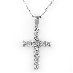 Natural 0.75 ctw Diamond Necklace 14K White Gold