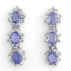 Genuine 4.38 ctw Tanzanite & Diamond Earrings 14K Gold