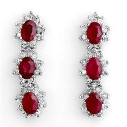 Genuine 5.63 ctw Ruby & Diamond Earrings White Gold