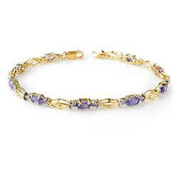 Genuine 2.10 ctw Tanzanite Bracelet 10K Yellow Gold