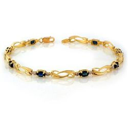 Genuine 2.52 ctw Blue Sapphire & Diamond Bracelet Gold