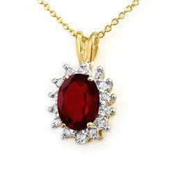 Genuine 1.0 ctw Garnet & Diamond Pendant Yellow Gold