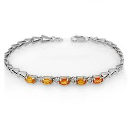 Genuine 2.0 ctw Orange Sapphire Bracelet 10K White Gold