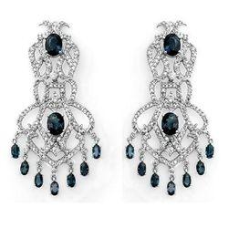 Genuine 17.6 ctw Sapphire & Diamond Earrings 14K Gold