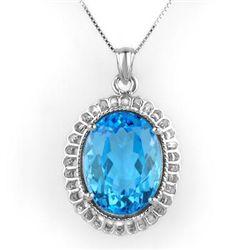 Genuine 18 ctw Blue Topaz Necklace 10K White Gold