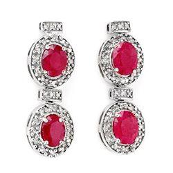 Genuine 6.75 ctw Ruby & Diamond Earrings White Gold