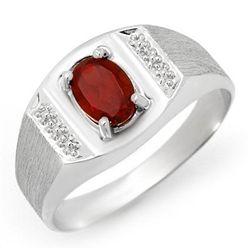 Genuine 2.0 ctw Garnet Men's Ring 10K White Gold