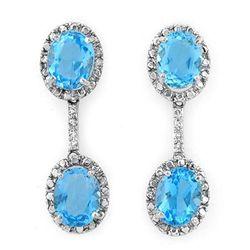 Genuine 10.10ctw Blue Topaz & Diamond Earrings 10K Gold