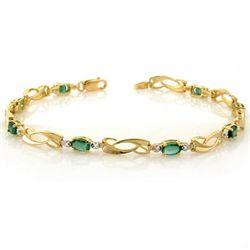 Genuine 2.02 ctw Emerald & Diamond Bracelet Yellow Gold