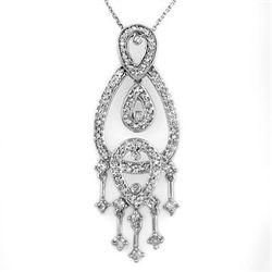 Natural 1.0 ctw Diamond Necklace 14K White Gold