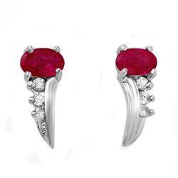 Genuine 0.72 ctw Ruby & Diamond Earrings White Gold