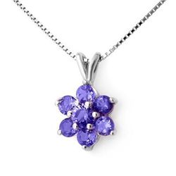 Genuine 0.75 ctw Tanzanite Pendant 10K White Gold