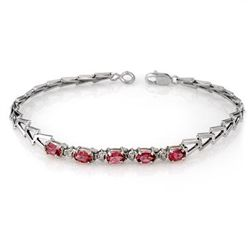 Genuine 1.50 ctw Pink Tourmaline Bracelet 10K White Gold