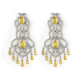 Genuine 17.3 ctw Yellow Sapphire & Diamond Earrings Gold