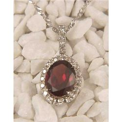 Genuine 2.05 ctw Garnet & Diamond Pendant White Gold
