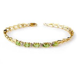 Genuine 1.0 ctw Peridot Bracelet 10K Yellow Gold
